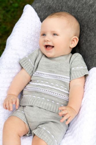 A2485G Boys  knitted Top and Shorts